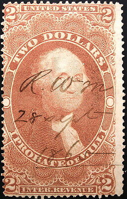 U.S.Stamp:Revenues:Scott#R83c, $2.00, Red, Probate of Will, Issue of 1862-1871