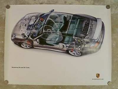 1999 Porsche 911 Turbo Exposed View Showroom Advertising Poster RARE!! Awesome