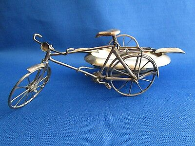 Antique Mexico Silver Bicycle Ashtray Side Car STERLING 1940's *GR123