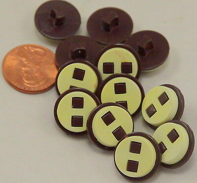 """12 Thick Cream & Muted Purple Plastic Shank Buttons 5/8"""" 15.5mm # 7091"""