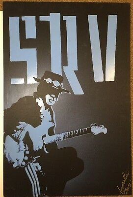 STEVIE RAY VAUGHAN SIGNED PAINTING ON BOARD BY Iosua Tai Taeoalii 2007 20X30