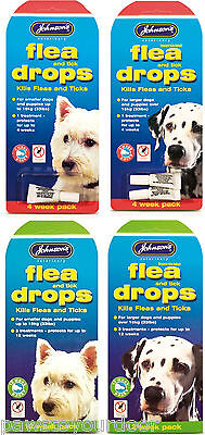 Johnsons Flea Drops for Large or Small Dog & Puppies 12 or 4 week Treatment Pack