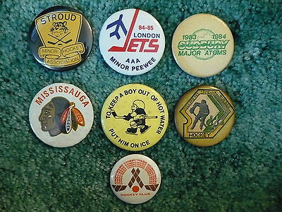 Vintage Lot of 7 Canadian, Michigan Youth Hockey Buttons, Canada, Quebec, London
