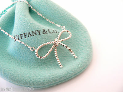 720575455 Tiffany & Co Silver Twisted Twist Ribbon Bow Necklace Pendant Charm Chain  Pouch