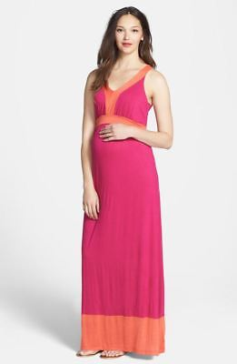 New Japanese Weekend Maternity & Nursing Sleeveless Colorblock Pink Maxi Dress