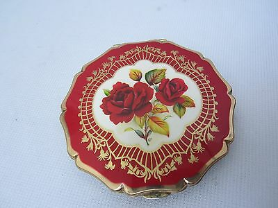 Vintage Stratton England Enamel Red Roses Mirror Compact