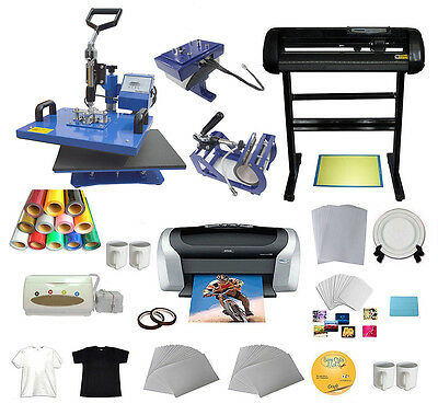 New 5 in 1 Combo Heat Press + Vinyl Cutter Plotter + Printer + Business Bundle