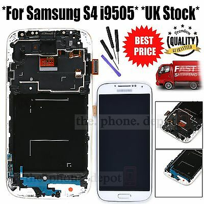 White For Samsung Galaxy S4 i9505 LCD Display Digitizer & Touch Screen & Frame