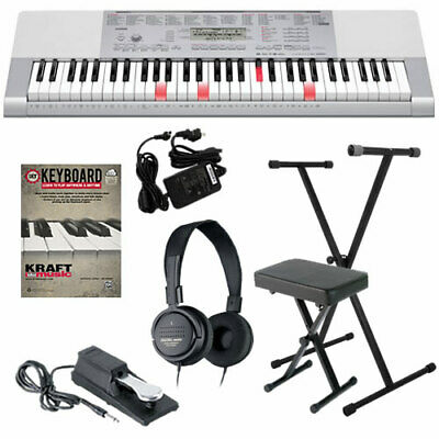 Casio LK-280 Lighted-Key Portable Electronic Keyboard HOME ESSENTIALS BUNDLE