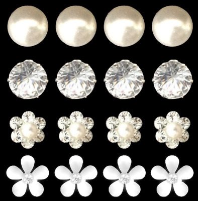 1 - 20 Diamante Pearl Rhinestone Solitaire Flower Daisy Hair Pins Wedding Ball