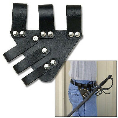 "5.5"" UNIVERSAL SWORD FROG Black Leather Sheath Scabbard Adjustable Baldric Belt"