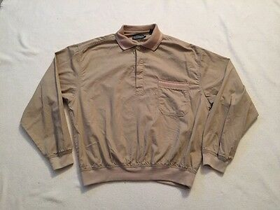 Members Only Vintage 80's Mens Half Button Long Sleeve Tan Pulliver Shirt, Size