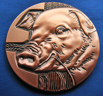 Chinese Zodiac Large Copper Medal--Year of the Pig 90mm