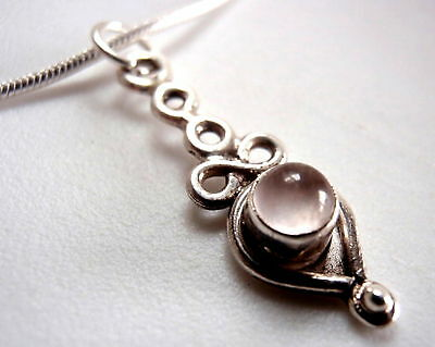 Very Small Rose Quartz 925 Sterling Silver Necklace