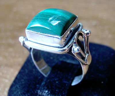 Malachite Ring Size 5.5 Beautifully Accented 925 Sterling Silver Square