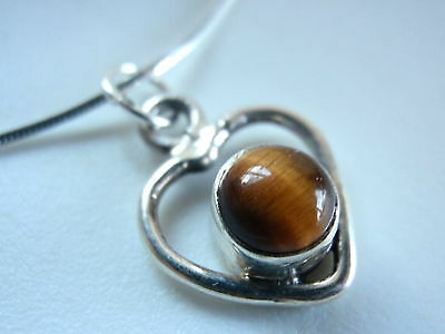 Small TIGERS EYE Heart 925 Sterling Silver Necklace Brown Corona Sun Jewelry