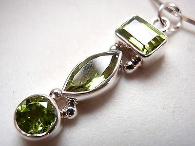 Faceted Peridot Baguette Marquise 3-Gem 925 Sterling Silver Necklace