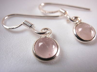 New Very Small Round Rose Quartz 925 Silver Earrings