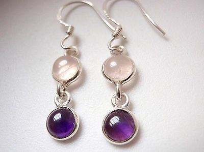 Very Small Rose Quartz & Amethyst Two Stone 925 Sterling Silver Dangle Earrings