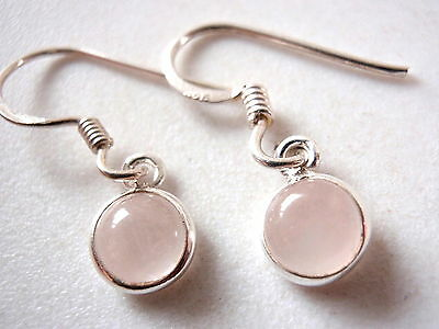Very Small Rose Quartz 925 Sterling Silver Dangle Round Earrings New