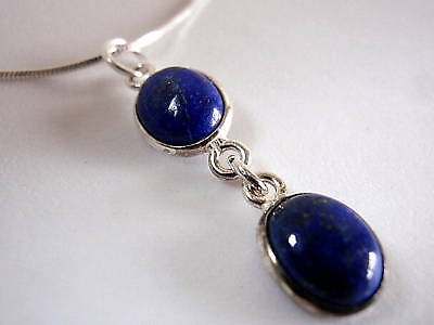 Lapis Lazuli Double Gem Sterling Silver Necklace India