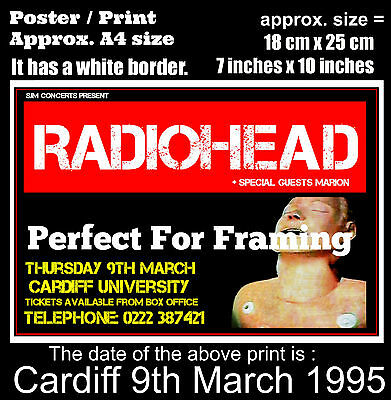 Radiohead live concert Cardiff University 9th of March 1995 A4 size poster print