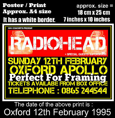Radiohead live concert Oxford Apollo 12th of February 1995 A4 size poster print