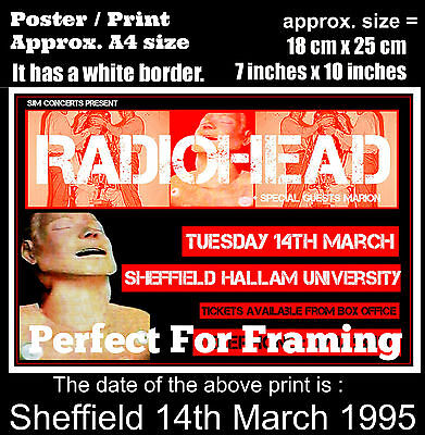 Radiohead live concert Sheffield University 14 March 1995 A4 size poster print