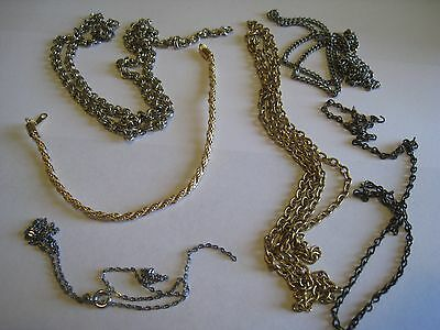 Vintage Bracelet & Lot Of 5 Silver & Gold Tone Chain Necklaces, Unmarked, AS IS