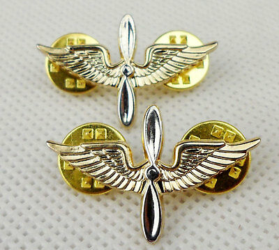 US Army Aviation Branch Collar Badges Pin Insignia -D728