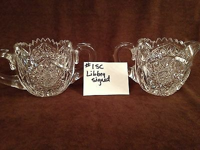 American Brilliant Cut Glass Libbey Sugar and Creamer #1SC