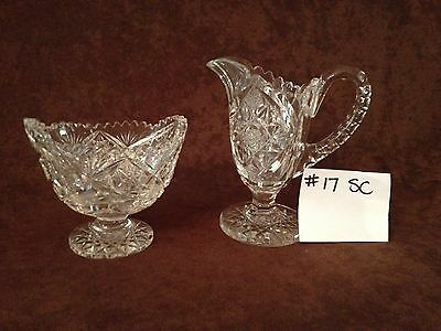American Brilliant Cut Glass Sugar and Creamer #17SC