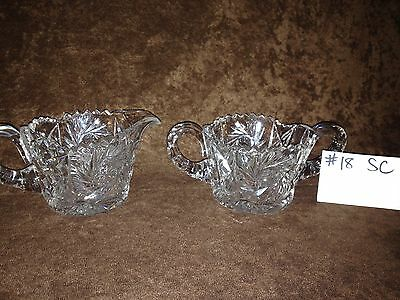 American Brilliant cut Glass Sugar and Creamer #18SC