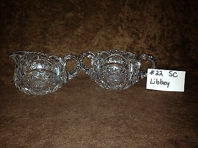 American Brilliant Cut Glass Libbey Sugar and Creamer #22SC