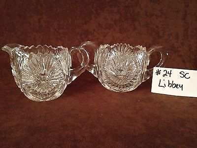 American Brilliant Cut Glass Libbey Sugar and Creamer #24SC