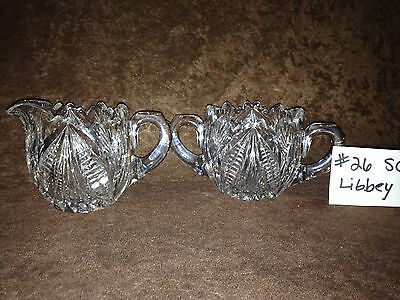 American Brilliant Cut Glass Libbey Sugar and Creamer #26SC