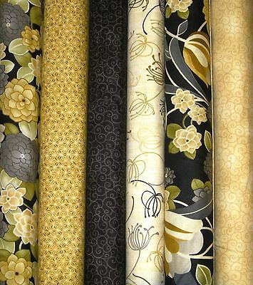 MODERN NOIR 3 Yard Quilt Fabric Set by Red Rooster ~Gold,Black,Cream Six 1/2 yds