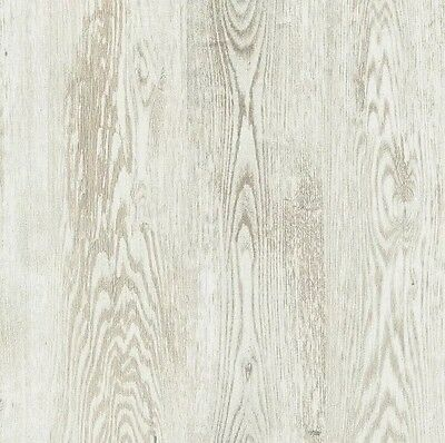 French Provincial Timber Wood Effect Wallpaper in White & Cream - 10M