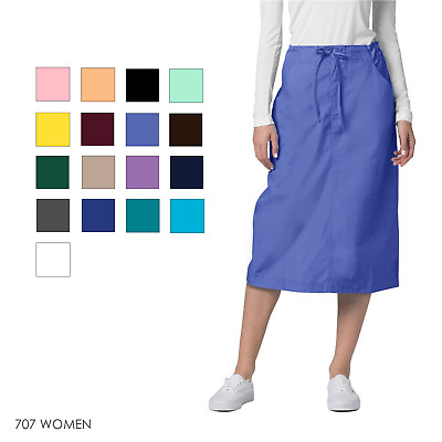 Adar Women Medical Nurse Uniform Mid Calf Length Drawstring 2 Pocket Scrub Skirt