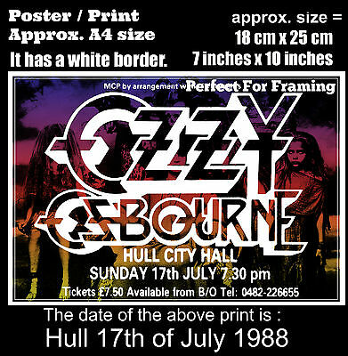 Ozzy Osbourne live concert Hull City Hall 17th of July 1988 A4 size poster print