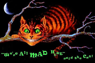 CHESHIRE CAT ALICE IN WONDERLAND WE'RE ALL MAD POSTER (61x91cm)  PICTURE PRINT