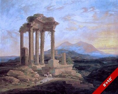 Ancient Ruins Greek Roman Temple Landscape Scene Painting Art Real Canvas Print