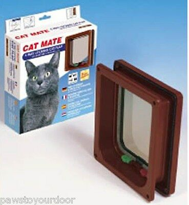 Petmate Cat Mate Cat Flap Pet Door 234b Brown Lockable Catflap Trimmable Liner