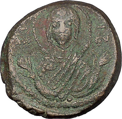 JESUS CHRIST Class G Anonymous 1068AD VIRGIN ORANS Byzantine Follis Coin  i45469
