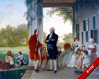 George Washington & Lafayette At Mount Vernon Painting Art Real Canvas Print