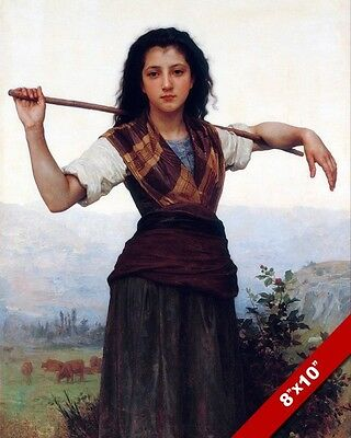 Young Woman Shepherdess Girl With Cane Painting Bouguereau Art Real Canvas Print