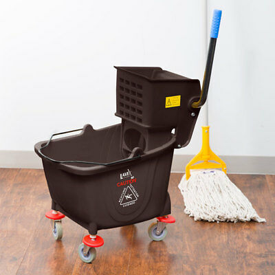 36 Quart Commercial Wet Mop Bucket & Wringer Combo Brown Janitorial