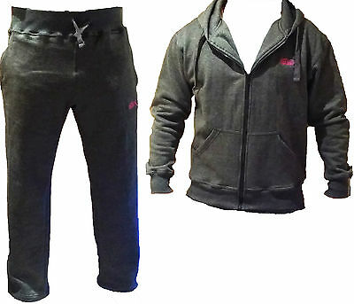 MADX Fleece Tracksuit Trousers Vest Hoodie MMA Gym Boxing Grey Black Pant Mens