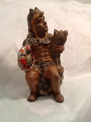 Indian Warrior Cheif Wolf Native American Figurine Vintage Retro