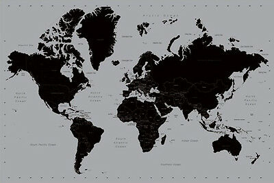 CONTEMPORARY WORLD MAP POSTER (61x91cm) SILVER & BLACK EDUCATIONAL PICTURE PRINT